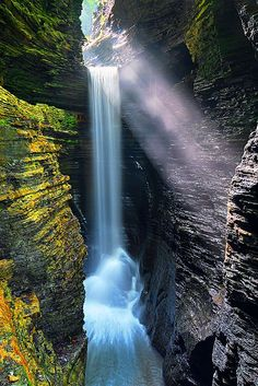 Cavern Cascade Waterfalls in Watkins Glen Park, New York, USA