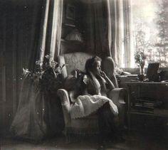 "Grand Duchess Olga Nikolaevna Romanova of Russia sitting in the Mauve Boudoir at the Alexander Palace in 1906.   ""AL"""
