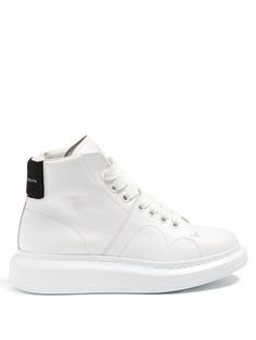 ALEXANDER MCQUEEN Raised-Sole High-Top Leather Trainers.  alexandermcqueen   shoes  sneakers 3745cd07cda