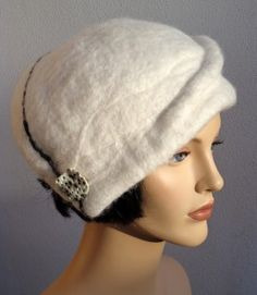 Bérêt, accessoire hiver, bonnet chic pour femme, bérêt blanc, style rétro, 2c20d54de49