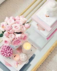 Thompson Ferrier pineapple candle makes a beautiful centerpiece of the coffee table. Pink decor with white accents. ♡Breakfast at Chloe's♡