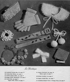 Knitted Crocheted bag, gloves, collar, flowers, belt, pom-poms, jewellery, bow - 1940s 50s