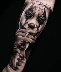 Scary Tattoos, Leg Tattoos, Body Art Tattoos, Sleeve Tattoos, Tattoos For Guys, Cool Tattoos, Horror Tattoos, Joker Face Tattoo, Casino Tattoo