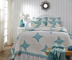 How can you go wrong with turquoise and white for a beach cottage bedroom?