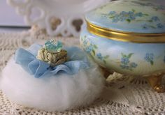 Porcelain Powder Dish and Powder Puff SET (dish, powder  puff, 4 oz. dusting powder) one of a kind