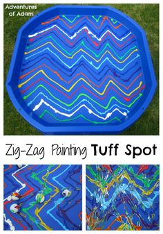 Wow - how quickly has our Tuff Spot A-Z Challenge gone. We conclude our challenge with Z is for Zig-Zag Tuff Spot. This was an easy activity to set up. Baby Room Activities, Eyfs Activities, Color Activities, Creative Activities, Infant Activities, Kindergarten Activities, Tuff Spot, Toddler Play, Baby Play
