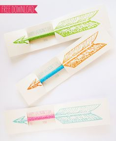 Cupid's bow now shoots pencils!    Pinterest Pick: Kids Valentines Day Card With Pencil