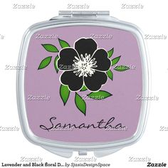 Lavender and Black floral Design Compact Vanity Mirror