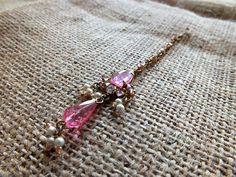 Indian Bridal Maang Tikka Bohemian Pink Head Chain Jewelry #tropical #boho #bohemian #mermaid #india  #wedding