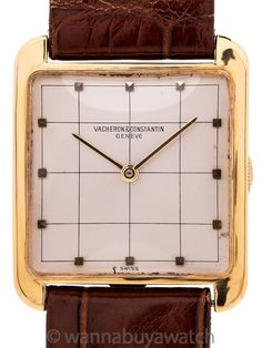 Vacheron & Constantin 18K YG circa 1960's - An unusual and attractive Vacheron & Constantin 18K yellow gold square case dress model circa 1960's. Featuring a low profile 28..5 x 32mm mitred corned case, with a modernist dial distinguished by vertical and horizontal grids. The dial further features square gold applied hour indexes and fine gold baton hands. Powered by caliber K1001 manual wind movement.  Recently serviced and detailed and offered on your choice of fine leather or exotic skin Vacheron Constantin, Modern Watches, Bracelet Sizes, How To Apply, Crystals, Vintage, Accessories, Vintage Comics, Crystal