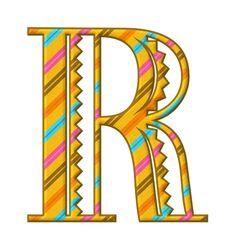Alfabeto a rayas inclinadas ..R