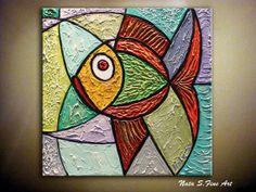 Original Abstract Heavy Textured Fish by NataSgallery on Etsy, $99.00
