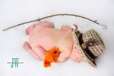 Baby Boy Fishing Hat & Fish SET Newborn 0 3m 6m Crochet Photo Prop Boys Girls Clothes ADORABLE Perfect for All Seasons