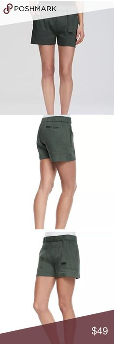 """$165 Vince Belted Linen-Blend Shorts in Green $165 Vince Belted Linen-Blend Shorts in Green ~Size M~  High end department store customer return.  Retails for $165 No signs of wear, just wrinkled from being stored.   Soft and lightweight Green Adjustable belt Elastic back waist  Size M  Measures approximately: waist across 16.25"""" Linen, viscose, elastane    Has a small snag on the material- front left. Refer to photos.   PRICED TO SELL FAST! PLEASE ASK ANY QUESTIONS BEFORE PURCHASE, THANKS…"""
