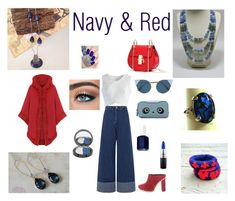 """""""Navy & Red!!"""" by artistinjewelry on Polyvore featuring Sea, New York, Chicwish, Fendi, WearAll, Proenza Schouler, Essie, OPI, Anya Hindmarch and MAC Cosmetics"""