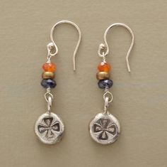 "CANTERBURY CROSS EARRINGS -- Handmade sterling disks stamped with a Canterbury cross drop from stacked carnelian and iolite beads. Silver French wires. Made in USA exclusively for Sundance. 1-1/2""L."