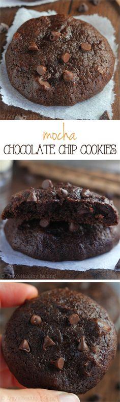 Mocha Chocolate Chip Cookies -- like a cross between cookies & brownies! SO fudgy & rich. These skinny cookies don't taste healthy at all!