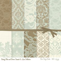 Shabby Chic Digital Paper:Brown and Ivory Digital Paper, Blue and Ivory Digital Paper, Seaglass Blue and Brown Digital Paper, #14130 by BaerDesignStudio on Etsy