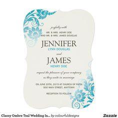 "Classy Ombre Teal Wedding Invitations 5"" X 7"" Invitation Card"