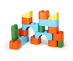 Green Toys Block Set – Our Greentopia. The Green Toys Block Set is the world's most environmentally friendly basic building set -- and now it's better than ever! The 18 boldly colored, lightweight blocks have been re-engineered for easier grip and better stacking action. This unique block set includes a variety of shapes for building castles, towers, or any imaginative structure budding architects can dream up. Plenty of Good Green Fun. Color combinations may vary.