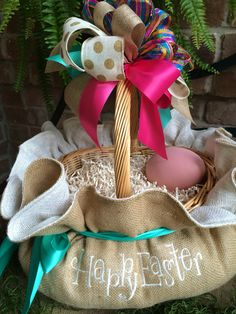 Love the natural burlap mixed with amazing Easter colors for your Springtime home decor! Custom designed and handmade by Cindy Jaeger Designs in Houston, Texas