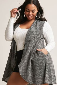 Product Name:Plus Size Marled Knit Vest, Category:CLEARANCE_ZERO, Price:35