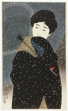SNOWY NIGHT BY ITO SHINSUI. I love the freeform shapes contrasting with each other and the large solid area agaist the delicate umbrella and lacy snow!! #japanese #art www.richard-neuman-artist.com