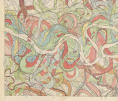 """In 1944 the U.S. Army Corp of Engineers commissioned the """"Geological Investigation of the Alluvial Valley of the Lower Mississippi River."""" An Associate Professor of Geology at Louisiana State University named Harold Fisk, Ph.D. produced these amazing colorful plates representing the changes the path of the Mississippi has taken over its history. This is just one of the many plates he made and I think it makes a beautiful fabric!"""