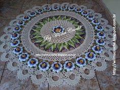 Wilma Crochê: Tapete flor de maracujá em crochê