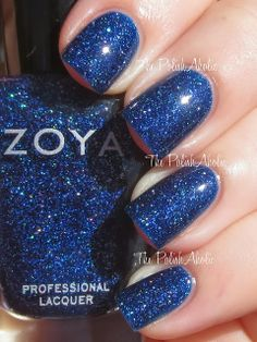 """The PolishAholic: Zoya Holiday 2013 Zenith Collection Swatches. """"Dream"""" is a slightly holographic deep blue."""