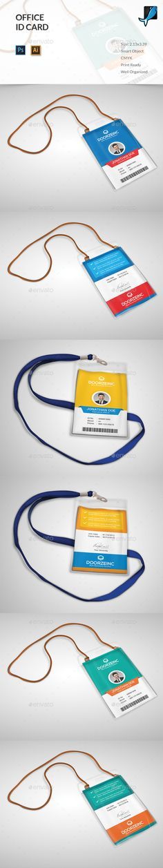 Office ID Card by OrcShape Features: Easy to edit Optimized for printing CMYK color mode with bleed) Help Guide Included Photoshop PSD i Stencil Templates, Letter Templates, Print Templates, Id Card Design, Badge Design, Id Card Template, Card Templates, Employee Id Card, Lanyard Designs