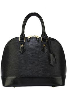 Emma Black Leather Bag Made of leatherGold tone hardwareTop Handles with a adjustable, removable shoulder strap Double zip around closure 4 bottom feet Fabri