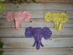 SET OF 3 ELEPHANT Hooks/ Cast Iron Wall Hooks/ Safari Decor/ Shabby Chic/ Key Hanger/ Coat Rack/ Nursery/ Anthropologie Inspired