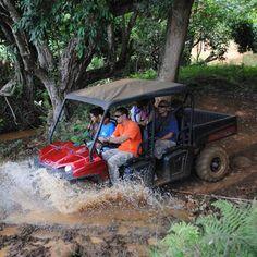 4-Hour Waterfall Picnic ATV adventure ride, swim, deli lunch, drinks and snacks. Fun filled family adventure on a Kauai ATV Tour.