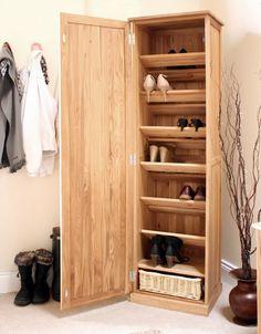 Oak Tall Shoe Cupboard - Mobel Aplaceforeverything