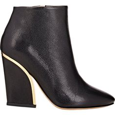 Chloé Women's Metal-Trimmed Ankle Boots ($399) ❤ liked on Polyvore featuring shoes, boots, ankle booties, ankle boots, black, colorless, black high heel ankle booties, black boots, black high heel booties and high heel bootie