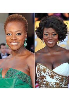 Viola Davis goes for a natural look for the 84th Annual Academy Awards held at the Hollywood & Highland Center on February 26, 2012 in Hollywood. Changing things up, Viola Davis goes for a fun and curly 'do at the 18th Annual Screen Actors Guild Awards on January 29, 2012 in Los Angeles. Which style is the best?