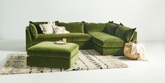 Anthropologie's Denver velvet sectional might just be the perfect couch — it's beautiful and won't feel dated down the line. L Couch, Sectional Sofa, Round Sectional, Chesterfield Sofa, Custom Furniture, Home Furniture, Furniture Ideas, A Thoughtful Place, Hanging Furniture