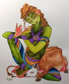 Kamadenu: Ananya series. #krishnafortoday #Watercolor.
