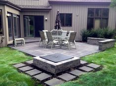 Square Patio Design With Fire Pit By Chicagoland Patio Builder