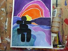 Grade Ted Harrison art project - Very Last First Time - Inuit Art Project 5th Grade Art, Grade 2, Visual Art Lessons, Visual Arts, Indigenous Art, Indigenous Education, Jr Art, Inuit Art, Ecole Art