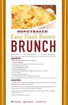 HoneyBaked Easy Hash-Brown Brunch #HoneyBaked #Ham #HashBrown #Recipe www.HoneyBaked.com #honeybakedchristmassweepstakes