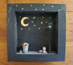 Pauvre petit chat ! vitrine miniature inspirée du livre de MIchel Van Zevere by Moon & Wood