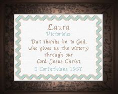Cross Stitch Laura with a name meaning and a Bible verse