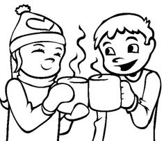 Pictures Kids Drinking Hot Cocoa Coloring Pages