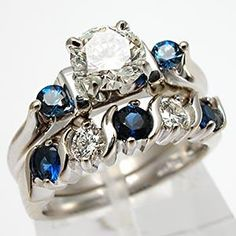 Estate Diamond & Blue Sapphire Engagement Ring Bridal Set Solid 14K White Gold - EraGem So crazy expensive and way too big but I love the color of the Sapphires