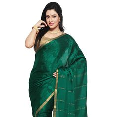 Green Pure Mysore Silk Traditional South Indian Saree with Blouse