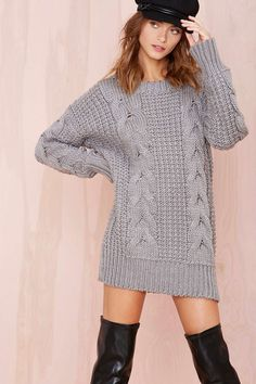 Love this relaxed chunky cable knit sweater/dress