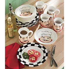 """12-Piece Ceramic Chef Dinnerware Set <<<=== have one set with Fat Chef that says """"Pasta"""" on each plate, bowl, cup, etc."""