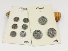Vintage Silver Metal Crest Button, Classic Pewter Look Shield and Lion Shank Coat Blazer Jacket Button Set by naturegirl22 on Etsy